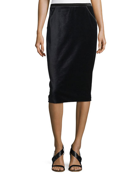 Elie Tahari Harla Satin-Trimmed Velvet Pencil Skirt and