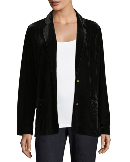 Stretch-Velvet Two-Button Blazer
