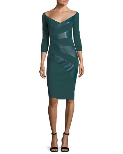 Kaliska V-Neck Cocktail Dress w/ Faux Leather Panels