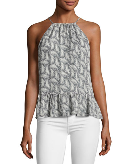 Joie Faustine Feather High-Neck Tank Top, Gray