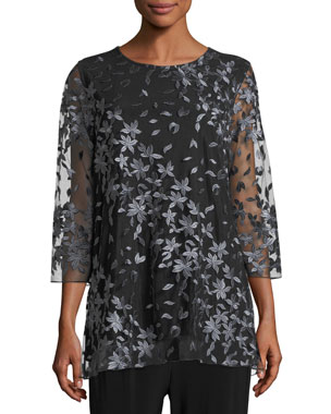 92fe079333390 Caroline Rose Floral Notes Layered Tunic