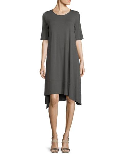 Short-Sleeve Lightweight Jersey Asymmetric Dress, Petite