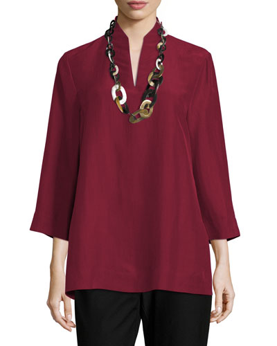 3/4-Sleeve High-Collar Doupioni Silk Blouse, Hibiscus