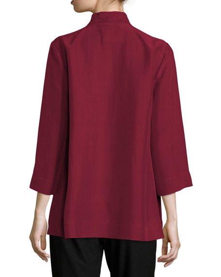 Eileen Fisher Petite 3/4-Sleeve High-Collar Doupioni Silk Blouse