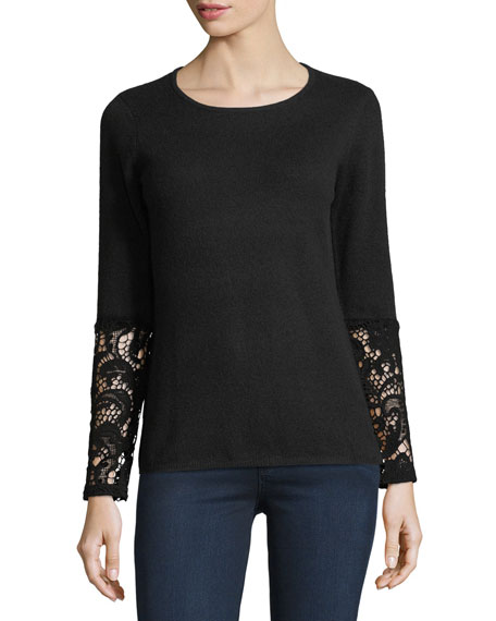 Neiman Marcus Cashmere Collection Crochet-Cuff Cashmere Crewneck