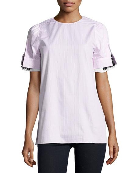 Nayeli Striped Poplin Blouse W/ Embellished Sleeves
