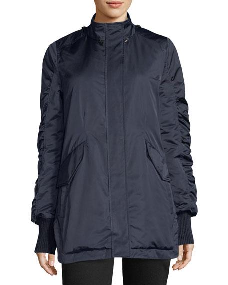 Satin Ruched-Sleeves Anorak Jacket w/ Fox Fur