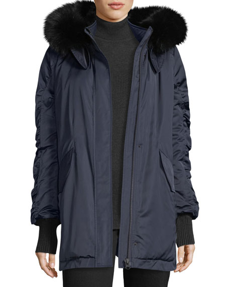Derek Lam 10 Crosby Satin Ruched-Sleeves Anorak Jacket