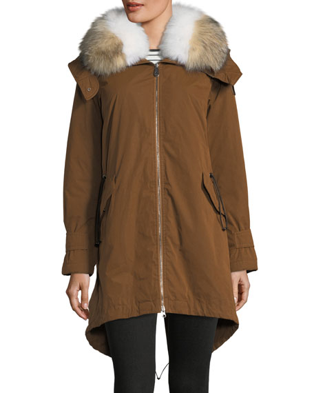 Peuterey Cuertin Long-Sleeve Hooded Parka Jacket w/ Fur