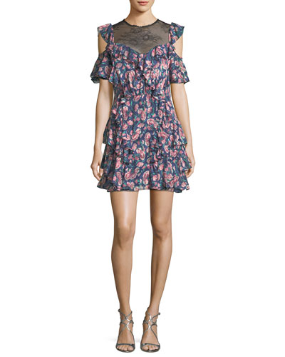 Tea Rose Lace-Neck Open-Shoulder Floral-Printed Dress