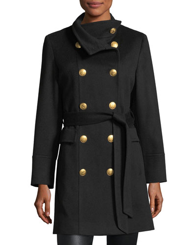 Double-Breasted Golden-Button Military Wool Coat