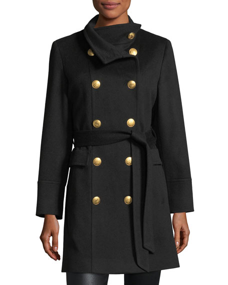 Sofia Cashmere Double-Breasted Golden-Button Military Wool Coat