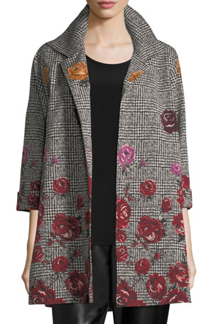 Caroline Rose Plus Size Rose Plaid Jacquard Party Jacket