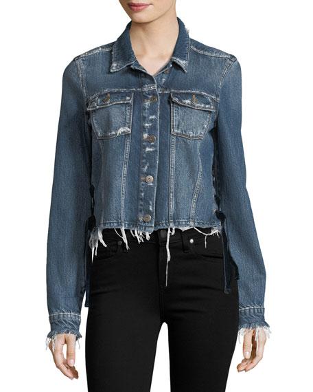 Villa Tie-Side Distressed Cropped Denim Jacket