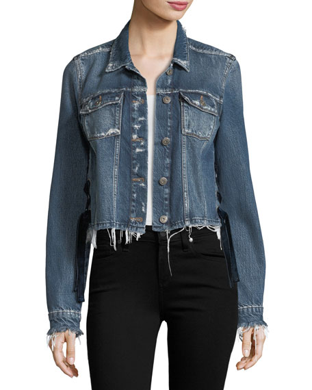 PAIGE Villa Tie-Side Distressed Cropped Denim Jacket