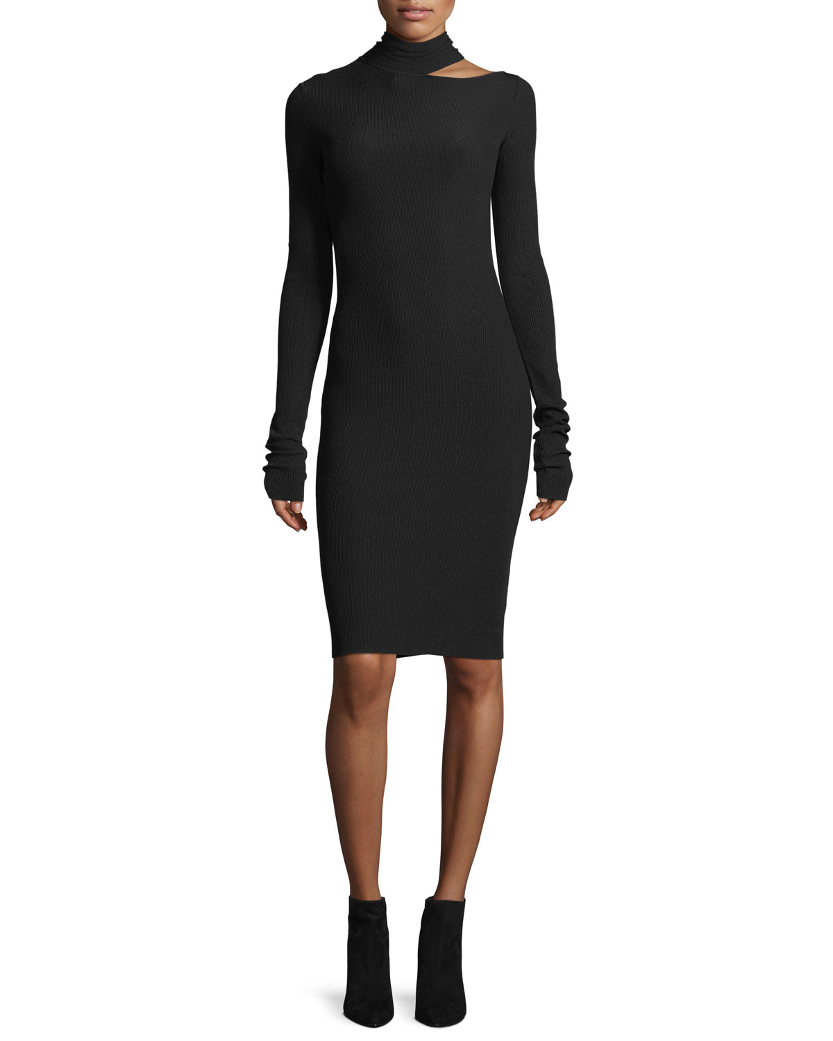 a01ba8cb67 Helmut Lang Tieback Long-Sleeve Fitted Sweater Dress