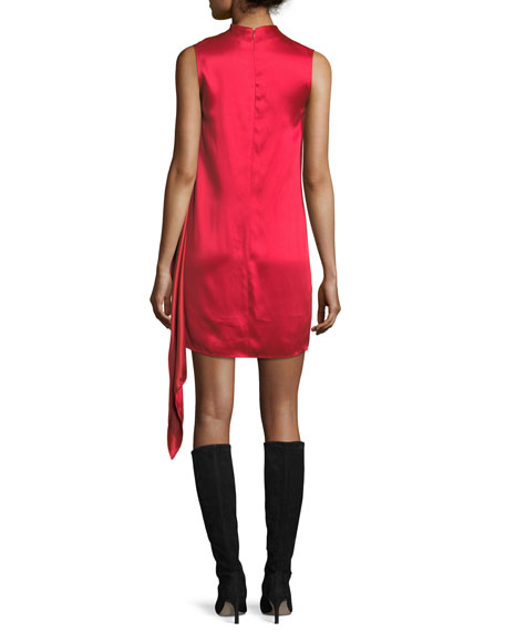 High-Neck Sleeveless Draped Satin Shift Dress
