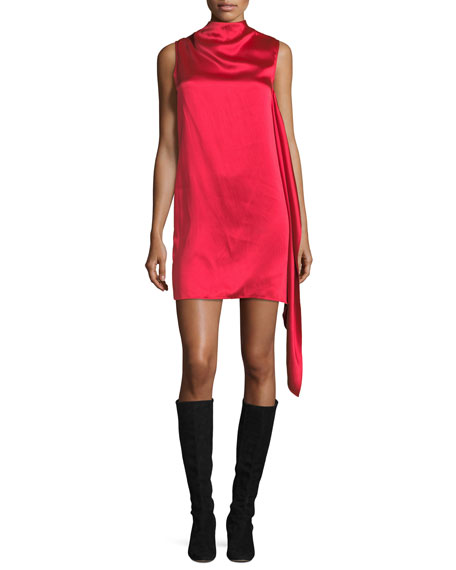 Helmut Lang High-Neck Sleeveless Draped Satin Shift Dress