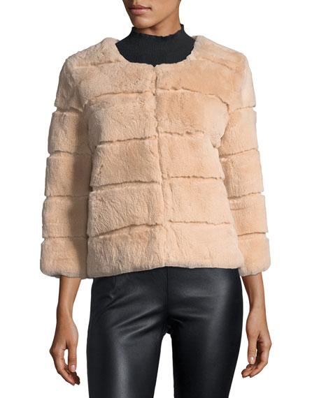 Hook-Front Rabbit Fur Jacket