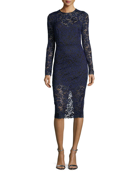 Jewel-Neck Long-Sleeve Corded Lace Cocktail Dress