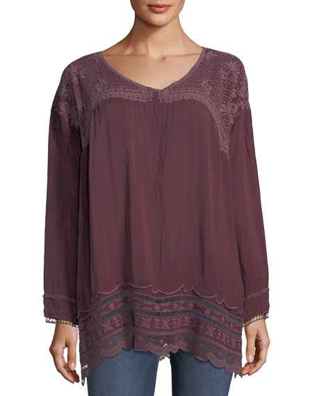 Rose Embroidered Georgette Tunic, Plus Size