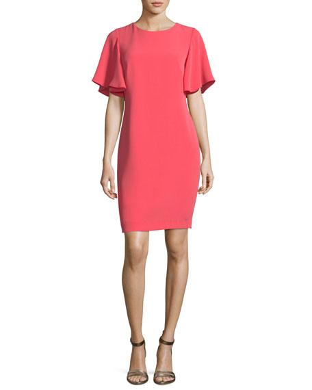 Mayberry Jewel-Neck Ruffled Sleeves Daytime Dress