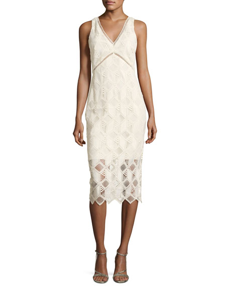 Hayworth Jewel-Neck Flounce-Sleeve Sheath Dress