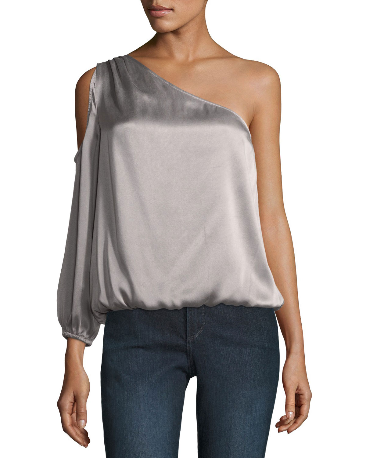 519ea1bb58071b Joie Abatha One-Shoulder Blouson Satin Top