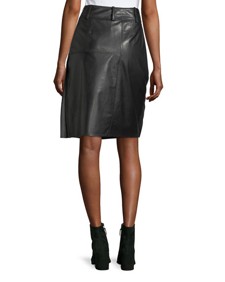 Ebele Pleated Pencil Leather Skirt