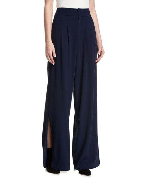 Shavon High-Waist Wide-Leg Side-Slit Crepe Pants