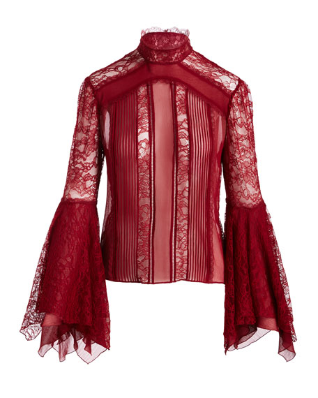 Ivy High-Neck Handkerchief-Sleeve Lace Top
