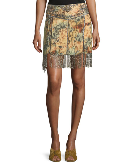 Haute Hippie The Orian Printed Mini Skirt w/