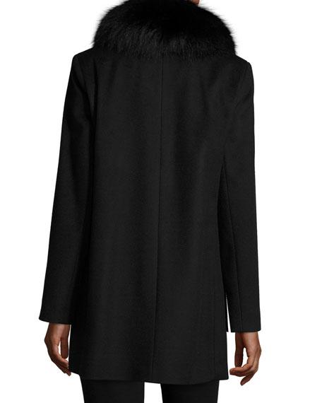 Sofia Cashmere Fox-Trim Felt Coat