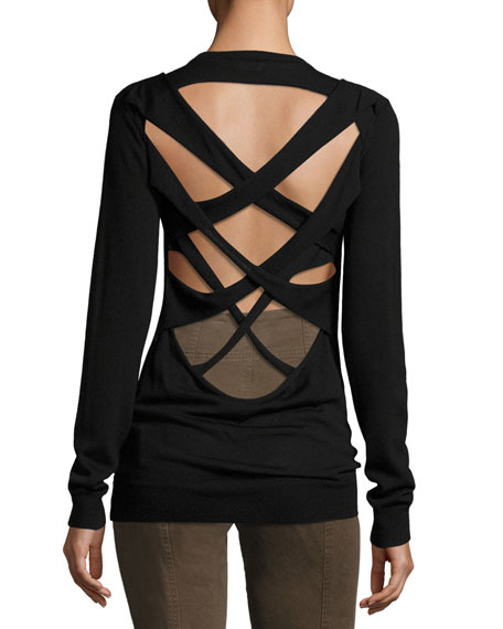 A.L.C. Liva Strappy-Back Merino Wool Sweater