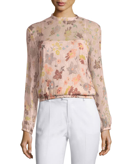 Long-Sleeve Sheer Floral-Print Lurex® Combo Blouse