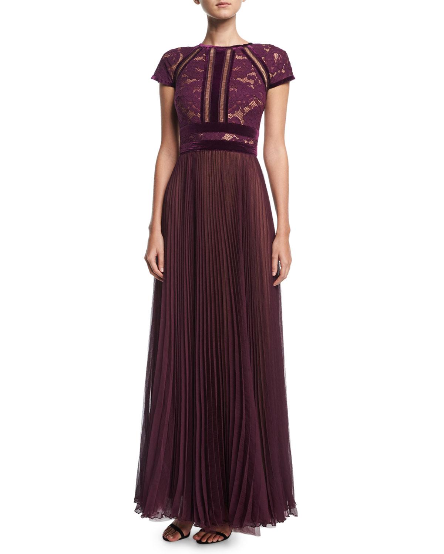 d424e78dfd84 Tadashi Shoji Cap-Sleeve Lace Evening Gown w  Pleated Chiffon Skirt ...