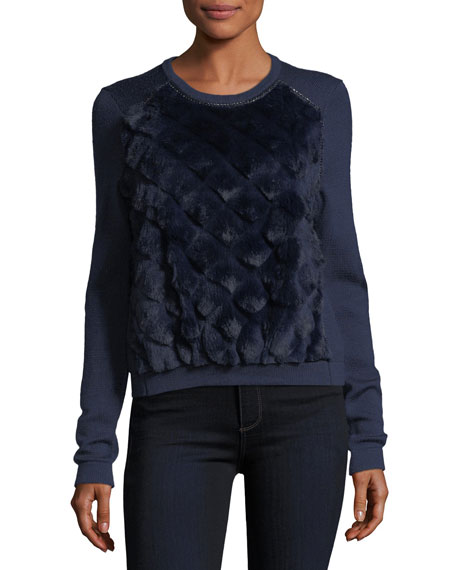 Elie Tahari Shanaya Rabbit Fur-Trimmed Sweater