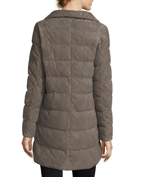 Zip-Front Quilted Puffer Suede Coat w/ Fur Collar