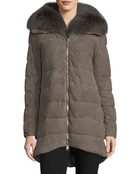 Herno Zip-Front Quilted Puffer Suede Coat w/ Fur