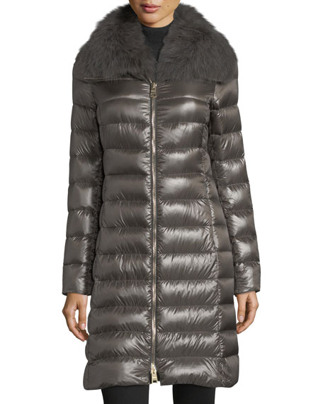 Fur-Collar Long Puffer Coat