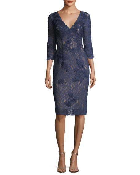 Long-Sleeve V-Neck Lace Cocktail Dress