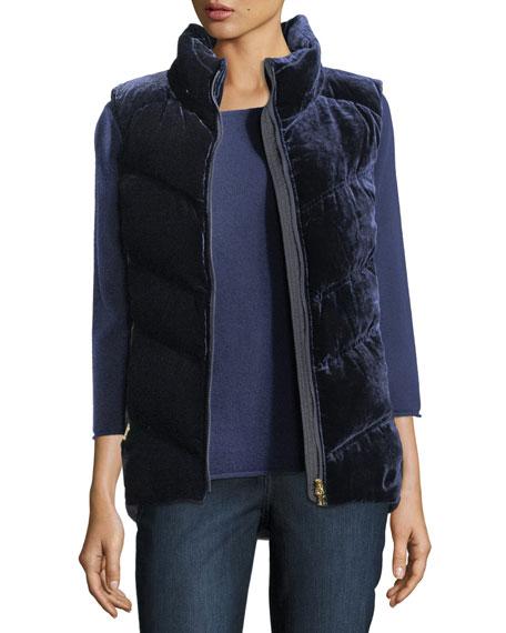 Sanni-D Velvet Quilted Down Puffer Vest