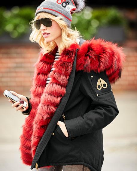 Vanier Long-Sleeve Hooded Canvas Jacket w/ Fur Trim