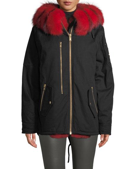 Moose Knuckles Vanier Long-Sleeve Hooded Canvas Jacket w/