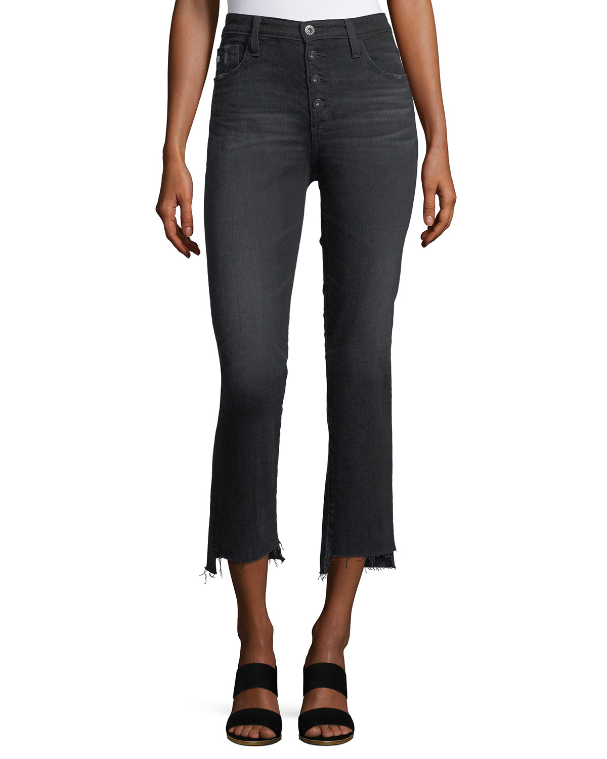 fc725d72c72483 AG Adriano Goldschmied Isabelle High-Rise Straight-Leg Cropped Jeans ...