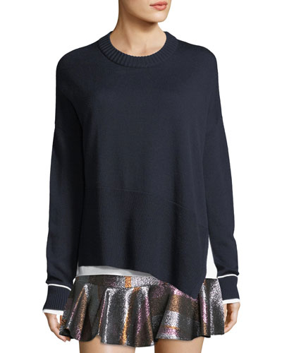 Crewneck Asymmetric Long-Sleeve Merino Wool Sweater