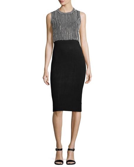 MICHAEL Michael Kors Sleeveless Embellished Sheath Midi Dress