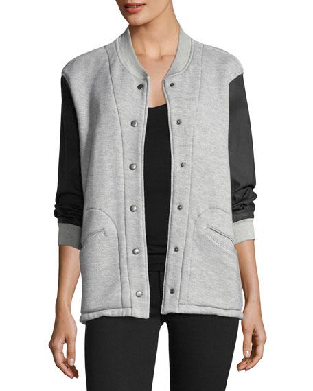 Current/Elliott Classic Snap-Front Varsity Jacket w/ Contrast
