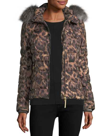 Bogner Sport Cyra Animal-Print Quilted Puffer Coat w/
