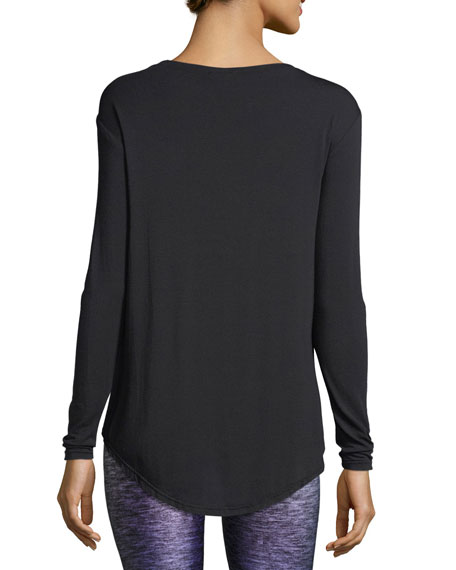 Image 2 of 2: Terez Twist-Front Long-Sleeve Jersey Top